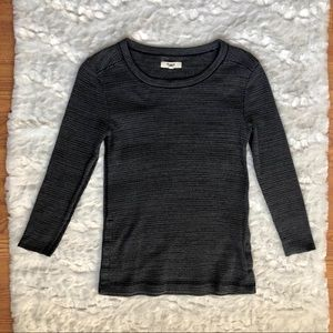 Madewell Charcoal Grey Thermal Waffle Knit Top